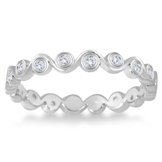 Marquee Jewels 1/4 Carat Diamond Bezel Wave Eternity Ring in 14K White Gold