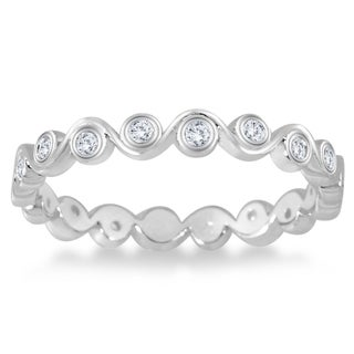 Marquee Jewels 1/4 Carat Diamond Bezel Wave Eternity Ring in 14K White Gold (I-J, I2-I3)