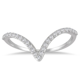 Marquee Jewels 14K White Gold 1/8CT TW Diamond V Ring (I-J, I2-I3)