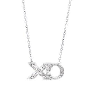 H Star Sterling Silver 1/8ct TDW Diamond XO Necklace (H-I, I1-I2)