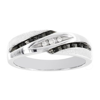 H Star 10k White Gold 1/6ct Black and White Diamond Mens Band Ring (I-J, I2-I3)