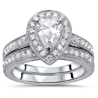 Noori 14k White Gold 1 1/4ct TDW Pear Diamond Bridal Set (G-H, SI1-SI2)