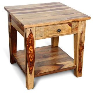 Handmade Porter Taos Solid Sheesham Lamp Table with Drawer (India)