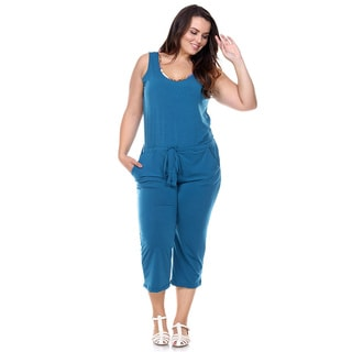 Stanzino Women's Sleeveless Stretch Waist Drawstring Capri Jumpsuit