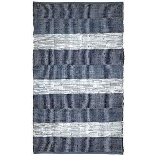 "Blue Stripe Matador Leather Chindi (21""x34"") Rug"