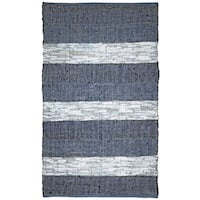 "Blue Stripe Matador Leather Chindi (21""x34"") Rug - 21 x 34"