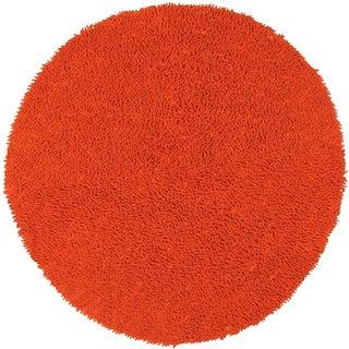 Orange Shagadelic Chenille Twist (2'x2') Round Shag Rug