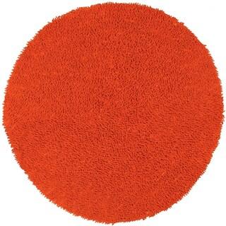Orange Shagadelic Chenille Twist (2'x2') Round Shag Rug - 2'