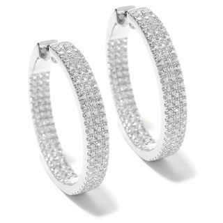 Sterling Silver 1.25-inch 6 1/8ct TCW White Zircon Hoop Earrings