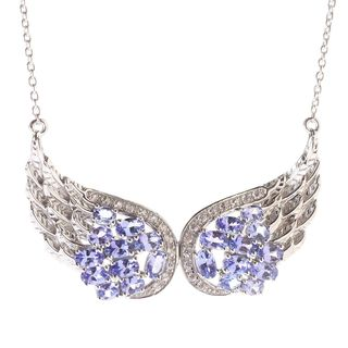 Sterling Silver 6ct TCW Tanzanite and White Zircon Double Angel Wing Necklace