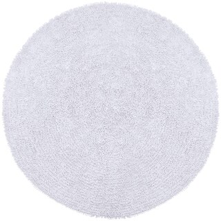 White Shagadelic Chenille Twist Round Shag Rug - 2'