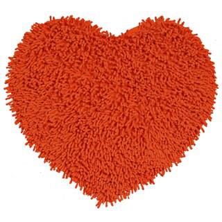"Orange Shagadelic Chenille Twist Shag Heart - 20x24"""
