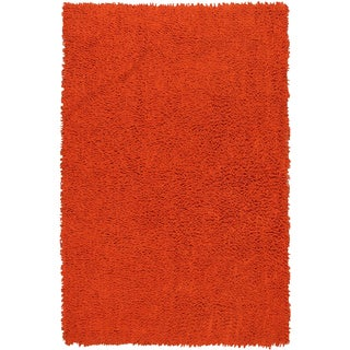 "Orange Shagadelic Chenille Twist (21""x34"") Shag Rug"