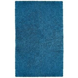 """Blue Shagadelic Chenille Twist (21""""x34"""") Shag Rug"""