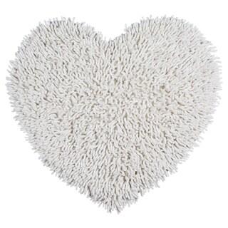 """White Shagadelic Chenille Twist Shag Heart - 20x24"""""""
