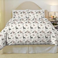 Pointehaven Autumn Deer Heavy Weight Cotton Flannel 3-piece Duvet Set