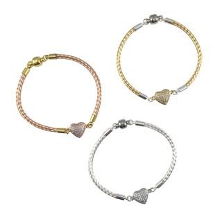 Bella Firenze Cubic Zirconia Heart Link Bracelet