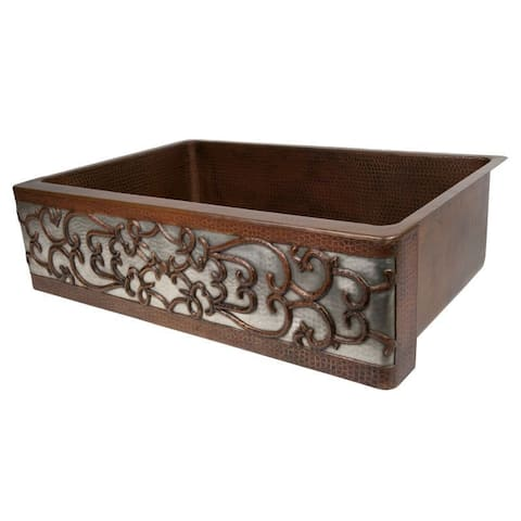 """Handmade 33"""" Copper Front Single Basin Kitchen Sink (Mexico)"""
