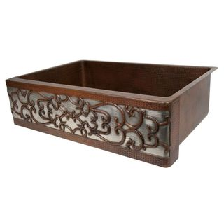 Copper Apron Front 33-inch Single Basin Kitchen Sink with Scroll and Nickel Background