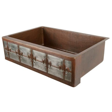"Handmade 33"" Copper Kitchen Single Basin Sink (Mexico)"