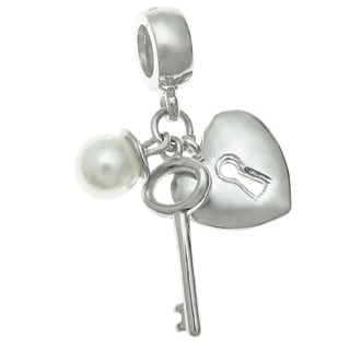 Queenberry Sterling Silver Key and Heart Lock Pearl Dangle European Bead Charm
