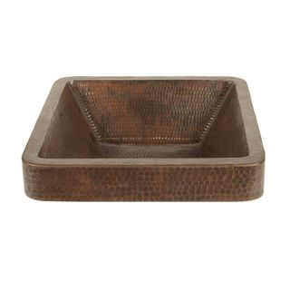 Premier Copper Products Square Skirted Vessel Hammered Copper Sink in Oil Rubbed Bronze