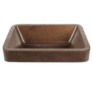 Premier Copper Products 17-inch Rectangle Skirted Vessel Hammered Copper Sink in Oil Rubbed Bronze