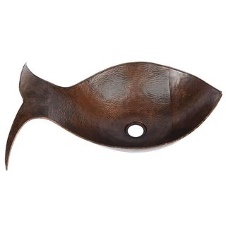Premier Copper Products Fish Vessel Hammered Copper Sink in Oil Rubbed Bronze