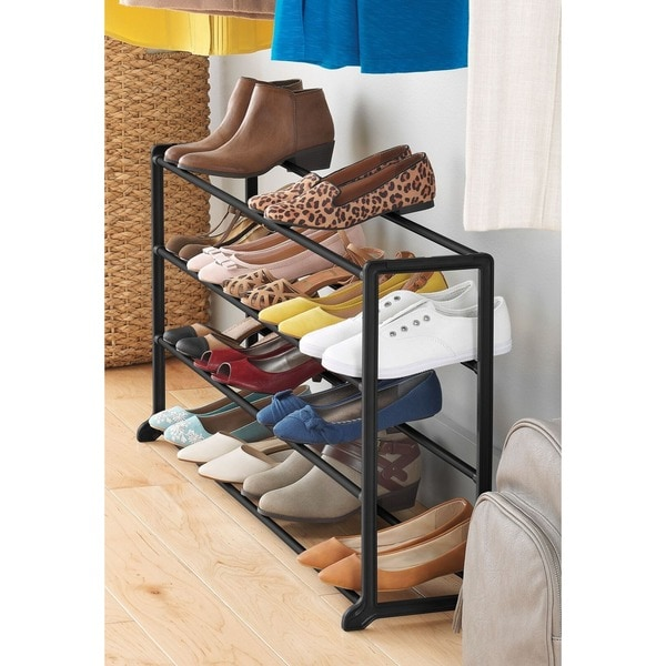 whitmor 4 tier 20 pair black finish portable vertical storage shoe rack - Vertical Shoe Rack