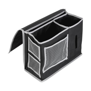 Black Bedside Caddy with Silver Mesh Pockets