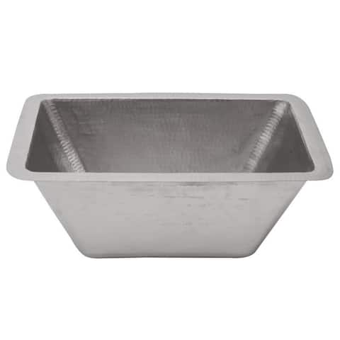 Premier Copper Products Rectangle Copper Bar Sink in Electroless Nickel with 2-inch Drain Size