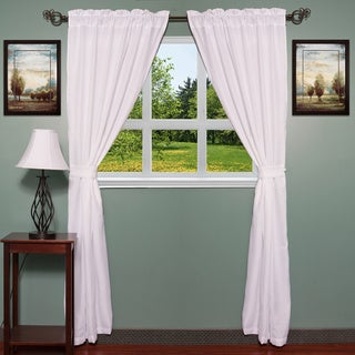 Burlap Style Rod Pocket Curtain Panel Set with Matching Tiebacks - 80 x 84