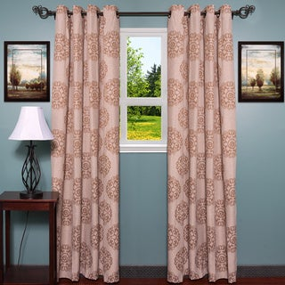 Linen Jacquard Style with Elegant Damask Print Curtain Panel