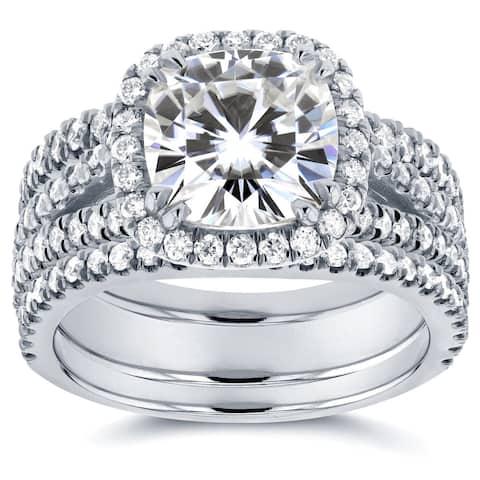 Annello by Kobelli 14k White Gold 3ct TGW Moissanite and Diamond Cushion Halo Split Shank Bridal Rings Set (3pc Set)