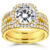 Annello by Kobelli 14k Yellow Gold 3ct TGW Moissanite and Diamond Cushion Halo Split Shank Bridal Rings Set (3pc Set)