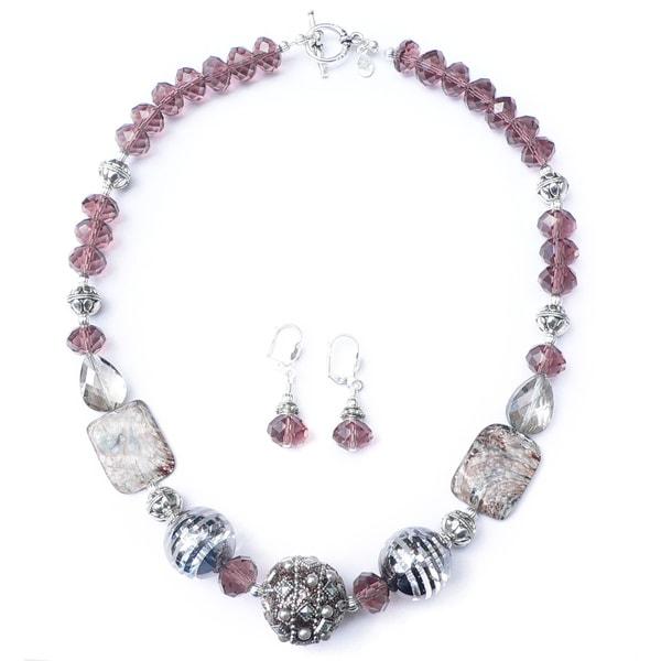 3d25ba30e0c424 Shop Palmtree Gems 'Jaipur' Bead Necklace and Dangle Earring Set ...
