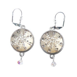 Palmtree Gems 'Noel' Goldtone Snowflake Crystal Dangle Earrings