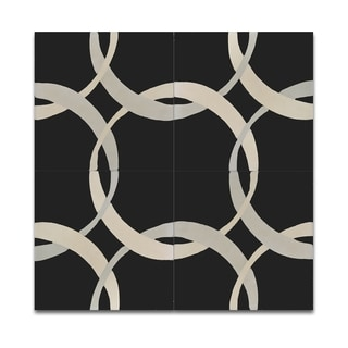 Pack of 12 Beige and Black Circle Wall Tiles (Morocco)