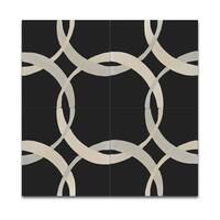 Circle Link Beige and Black Handmade Moroccan 8 x 8 inch Cement and Granite Floor or Wall Tile (Case of 12)