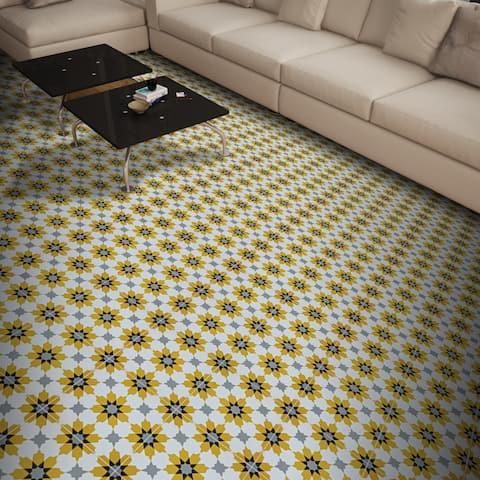 Ahfir Yellow, Grey, Black Handmade 8x8-in Moroccan Tiles, Pack of 12