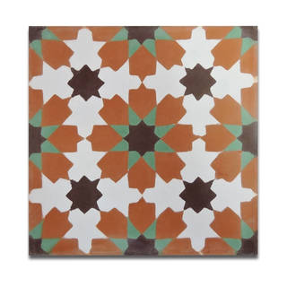 Ahfir Orange and Green Stars Handmade Moroccan 8 x 8 inch Cement and Granite Floor or Wall Tile (Case of 12)