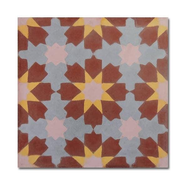Ahfir in Brown-Yellow, Grey Handmade 8x8-inch Moroccan Tiles (Pack 12)