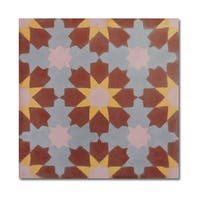Ahfir in Brown-Yellow, Grey Handmade 8x8-inch Moroccan Tiles (Pack 12)