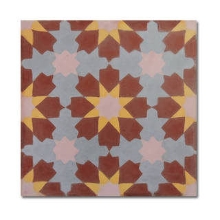 Ahfir Brown Yellow Stars Handmade Moroccan 8 x 8 inch Cement and Granite Floor or Wall Tile (Case of 12)
