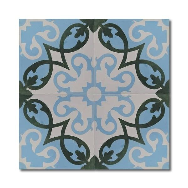 Agadir Royal Green And Blue Handmade Moroccan 8 X 8 Inch