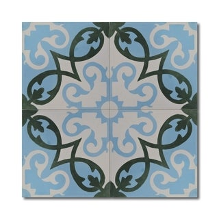 Agadir Royal Green and Blue Wall and Floor Tiles (Case of 12) (Morocco)