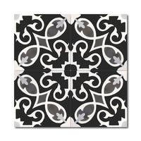 Agadir Royal in Black and White Handmade 8x8in Moroccan Tile(Pack 12)