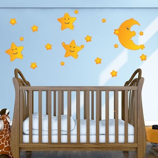 Colorful Moon and Stars Wall Decor Set
