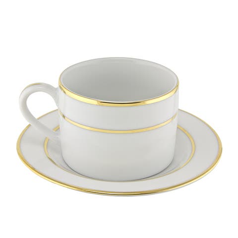 10 Strawberry Street Gold Double Line Can Cup/ Saucer (Set of 6)