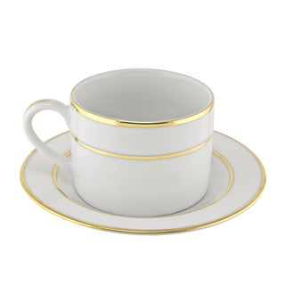 Gold Double Line Can Cup/ Saucer (Set of 6)